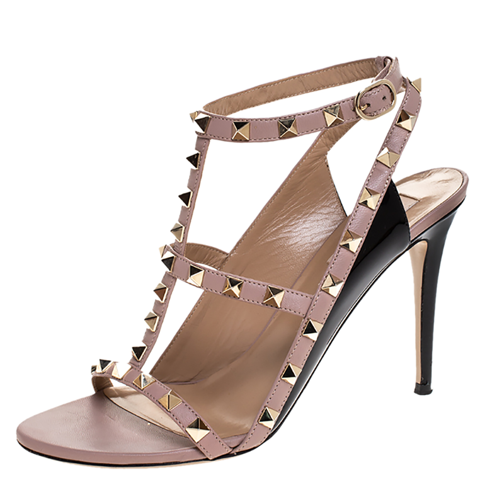 Valentino Black/Beige Leather Rockstud Ankle Strap Sandals Size 38.5