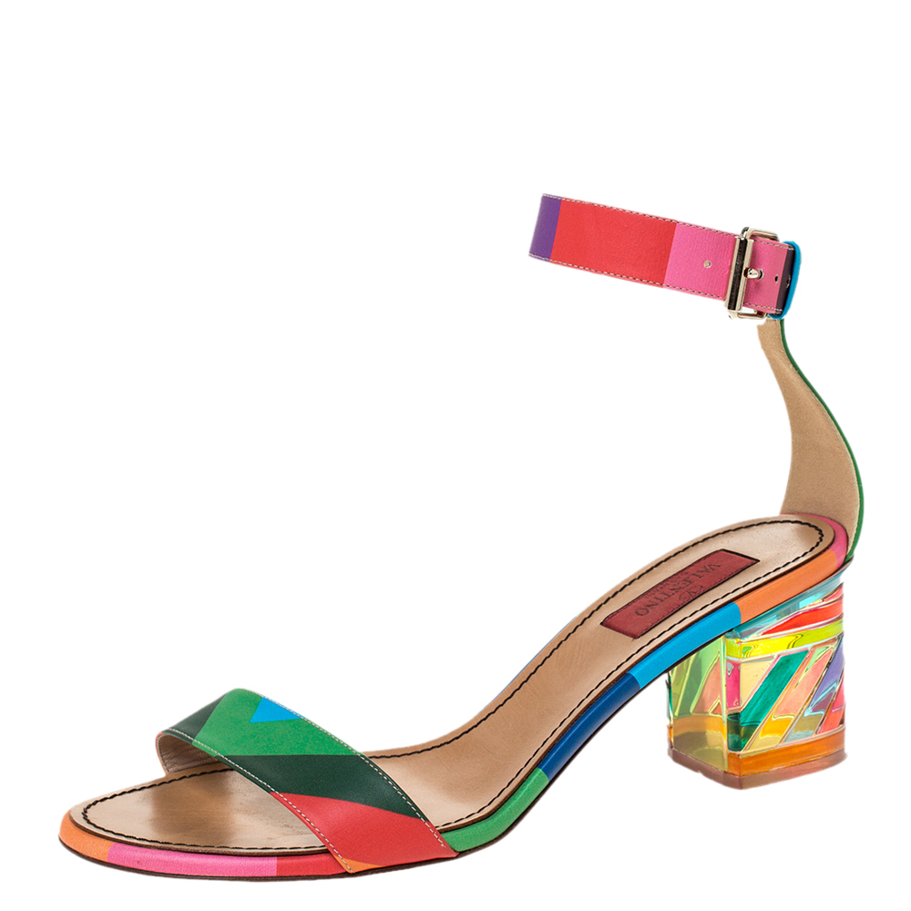 Valentino Multicolor Leather 1973 Rainbow Ankle Strap Sandals Size 39