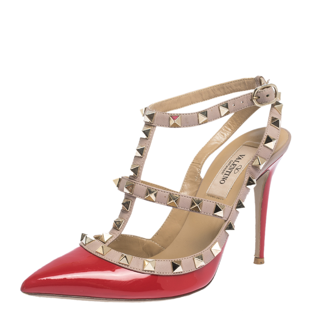 Valentino Red Patent Leather Rockstud Pointed Toe Sandals Size 36