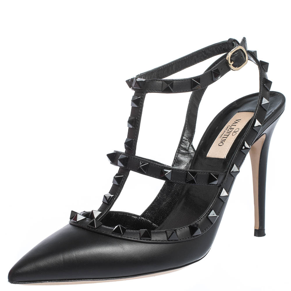 Valentino Black Leather Rockstud Strappy Pointed Toe Sandals Size 39