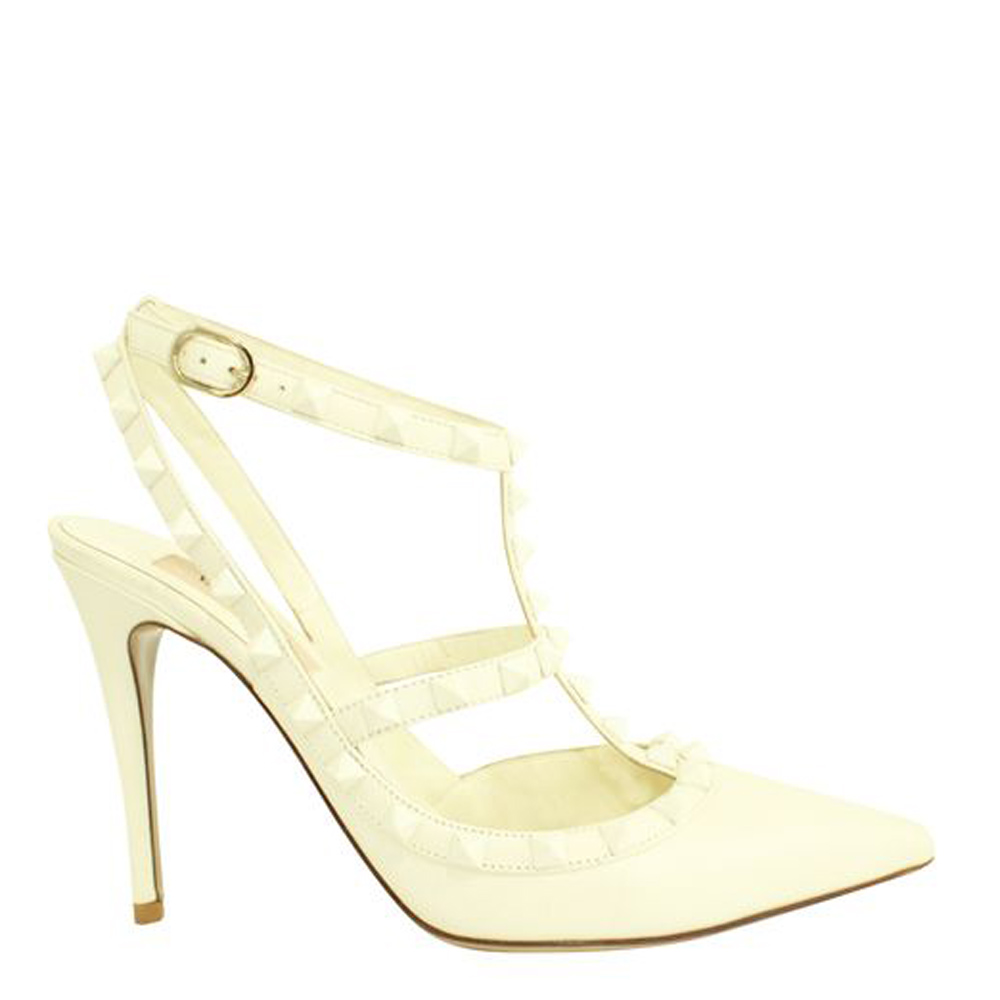 Pre-owned Valentino Garavani White Leather Rockstud Sandals