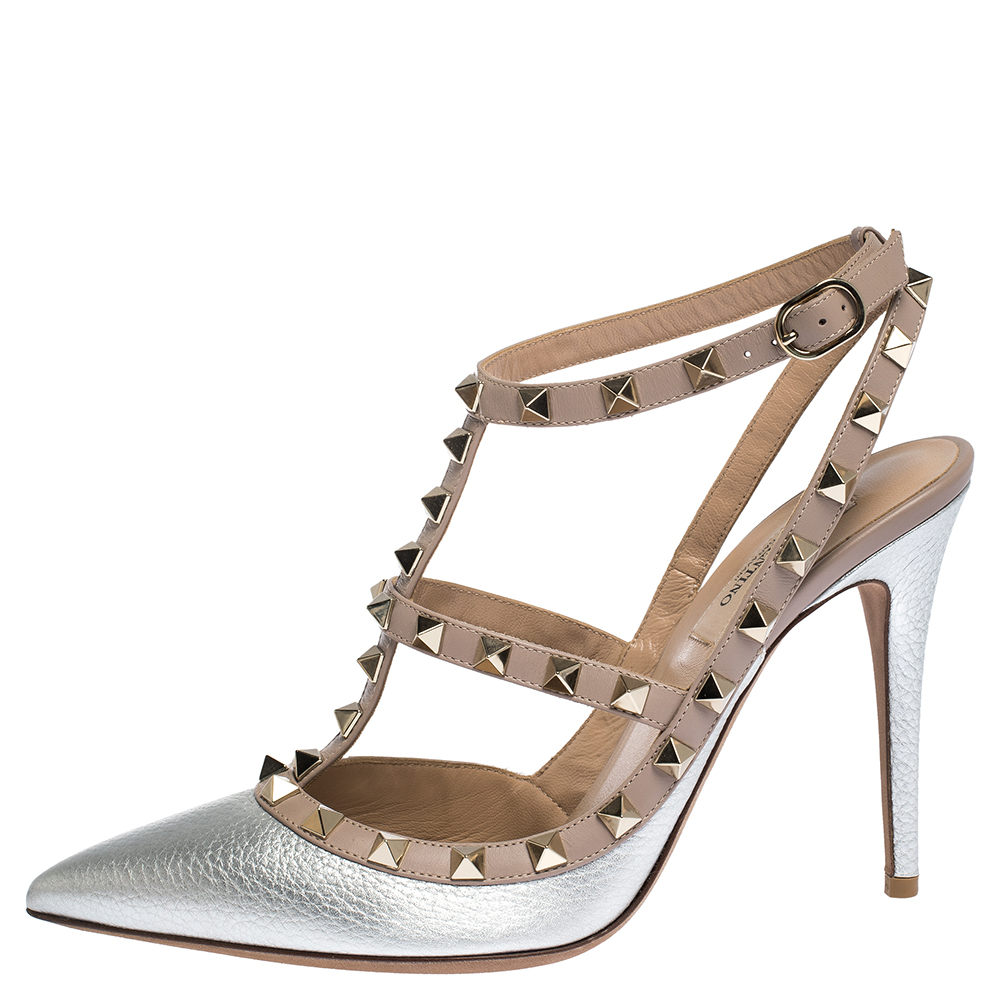 Valentino Silver Leather Rockstud Strappy Pointed Toe Sandals Size 39