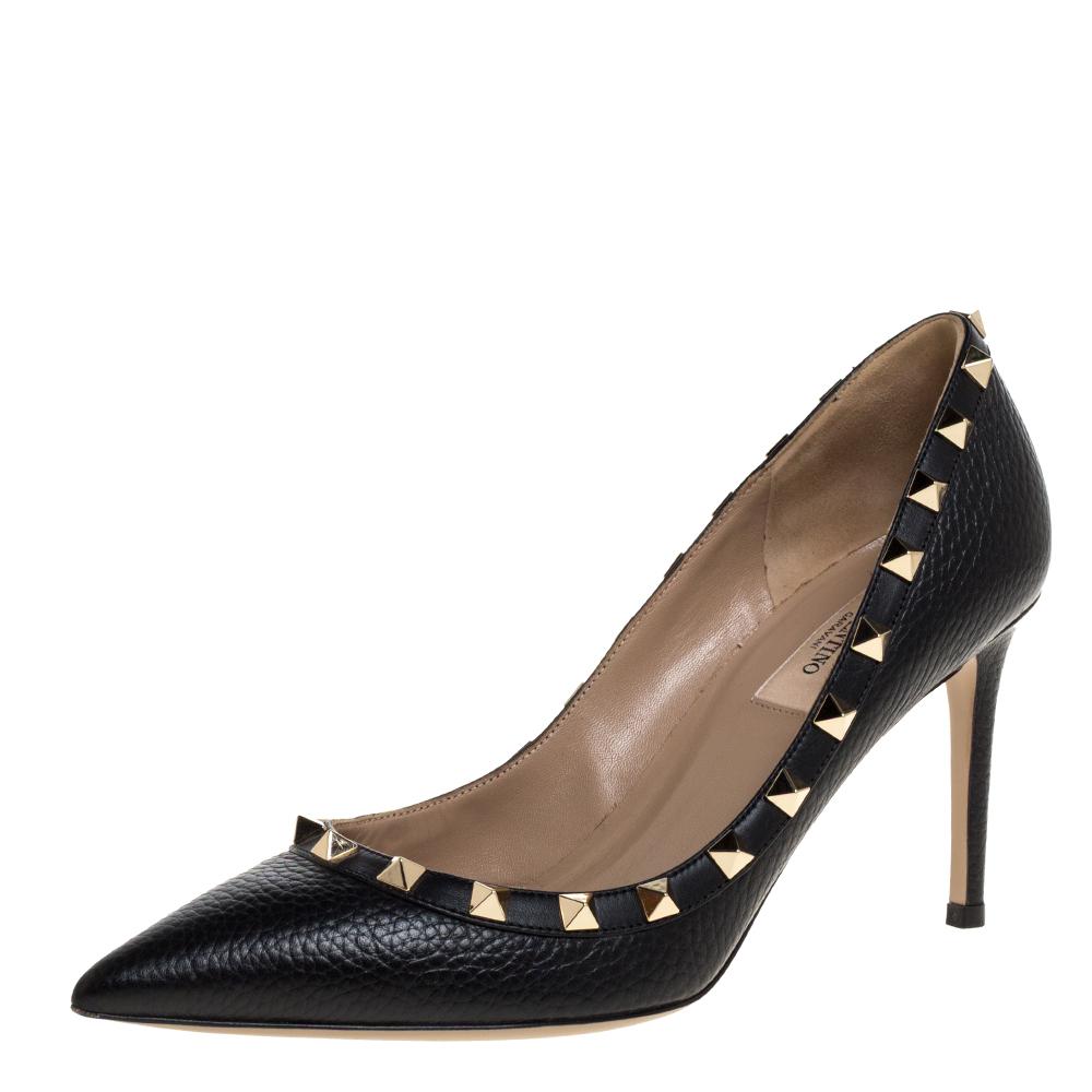 Pre-owned Valentino Garavani Black Leather Rockstud Pointed Toe Pumps Size 37.5