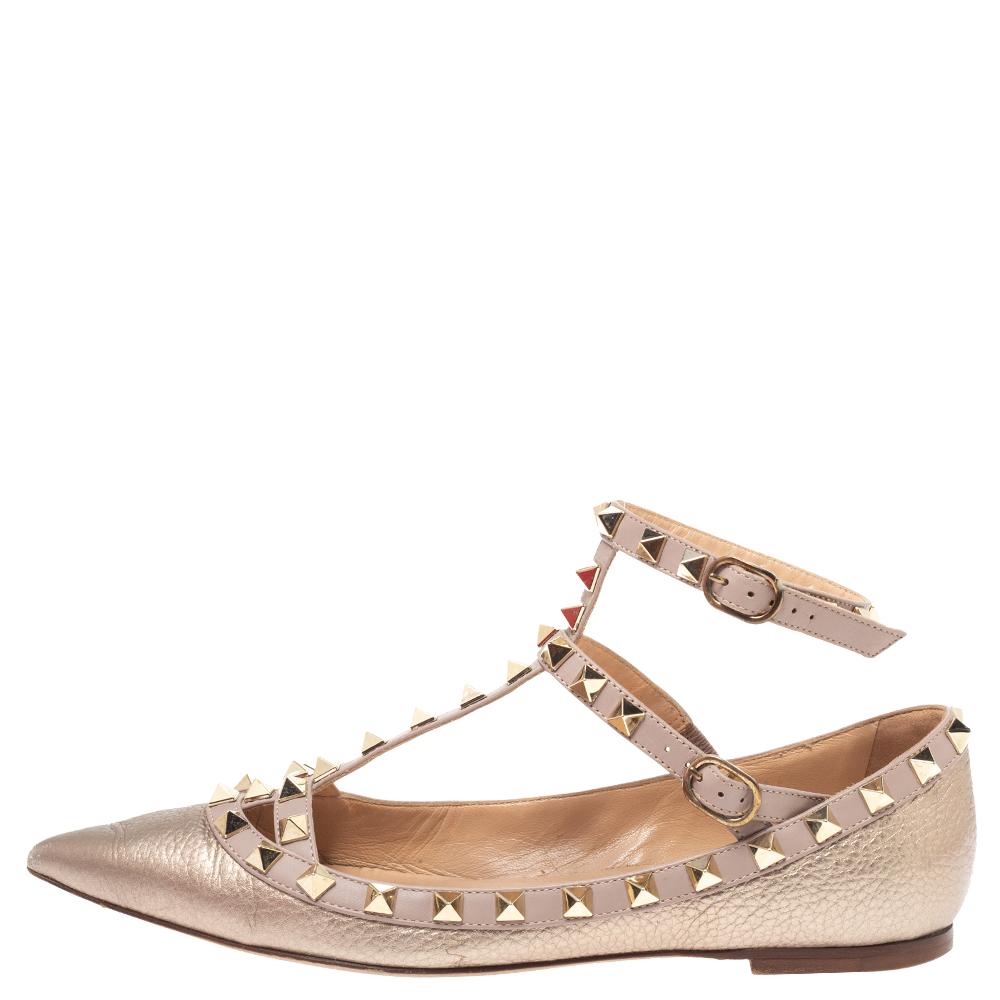Valentino Metallic Bronze Leather Rockstud Ankle Cuff Ballet Flats Size 36.5