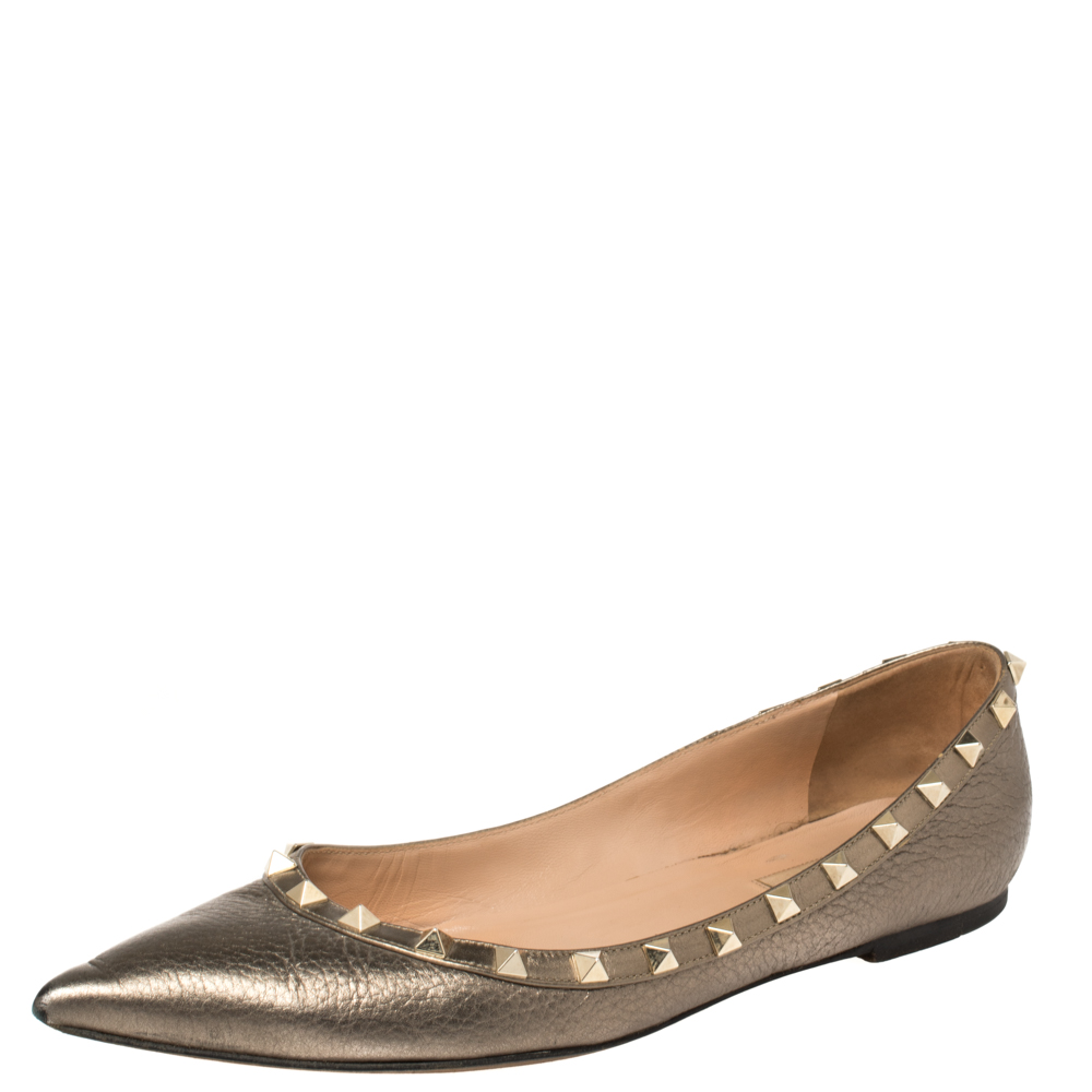 Pre-owned Valentino Garavani Metallic Leather Rockstud Ballet Flats Size 40.5