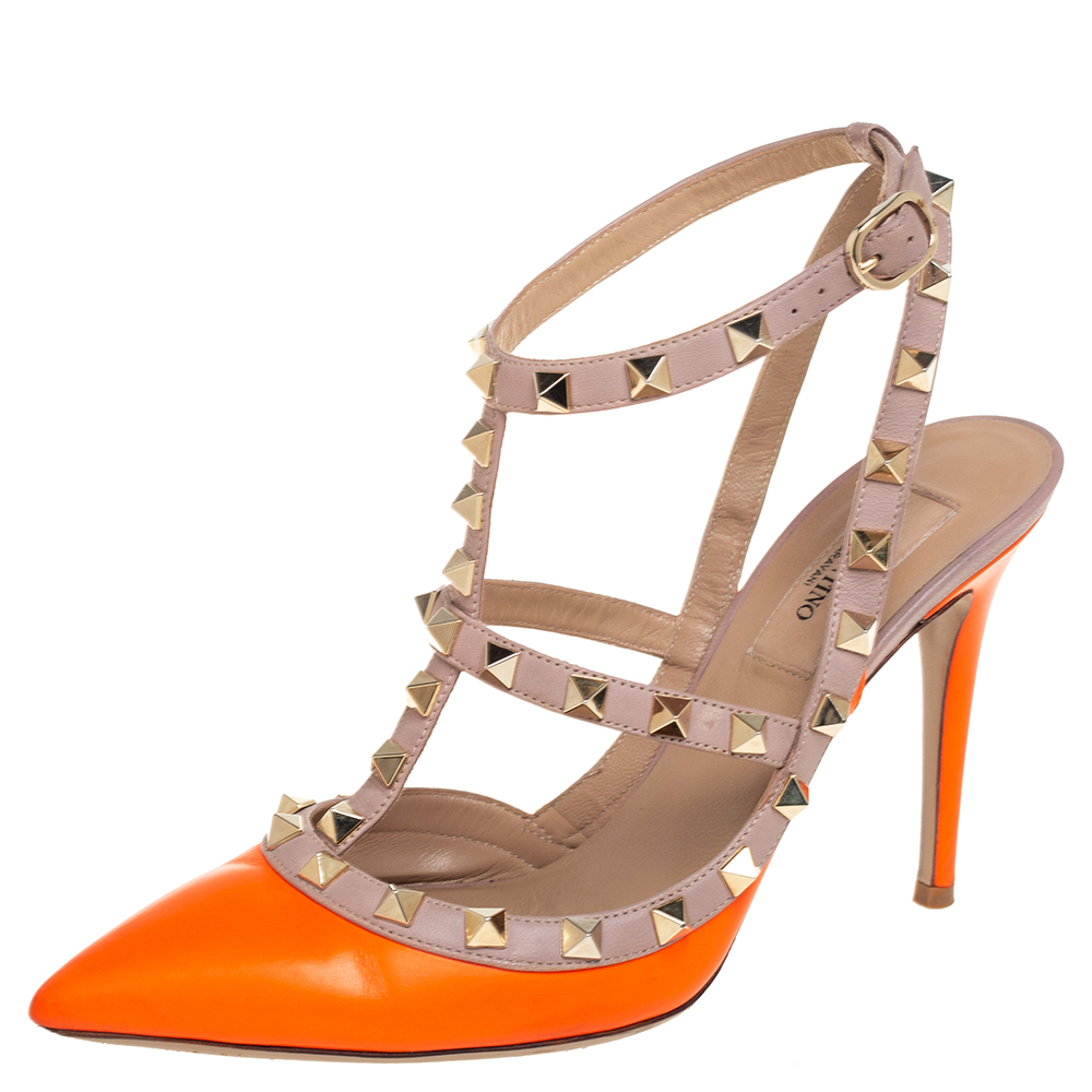 Pre-owned Valentino Garavani Orange/beige Leather Rockstud Sandals Size 37.5