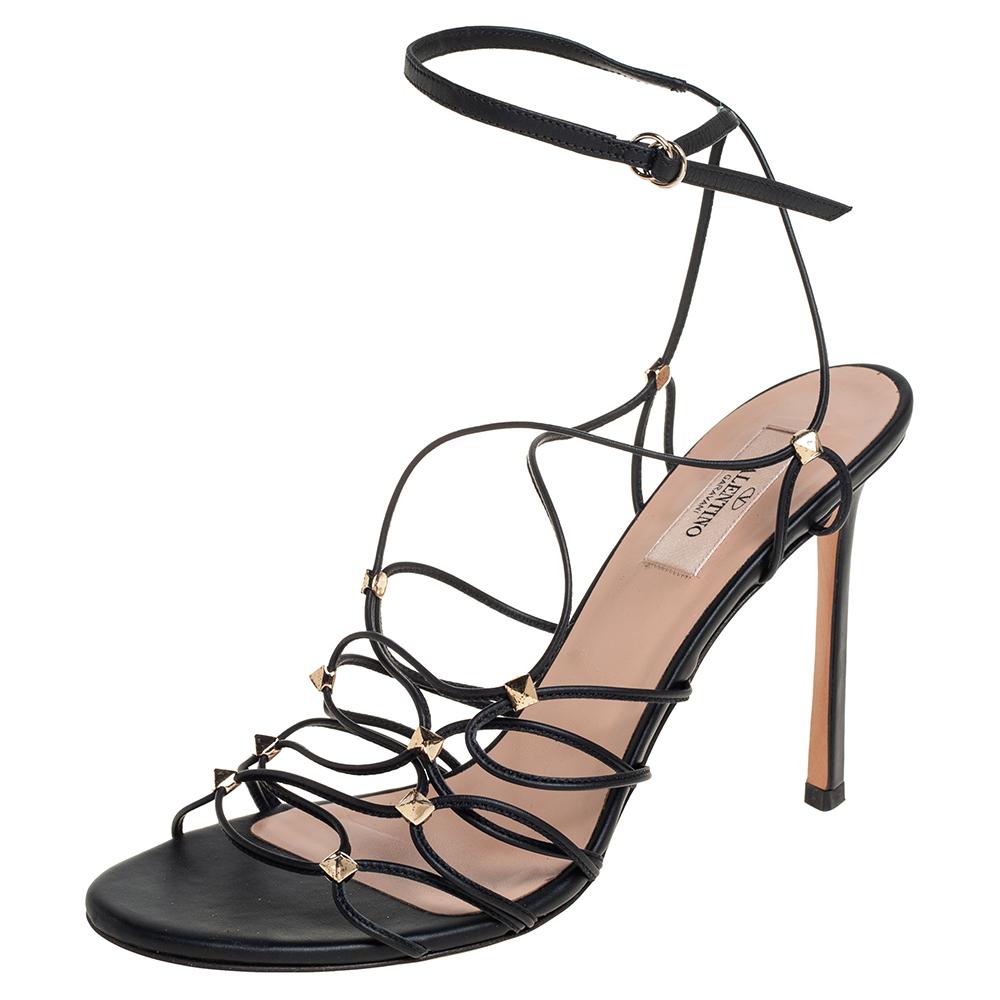 Pre-owned Valentino Garavani Black Leather Rockstud Lace Up Sandals Size 39