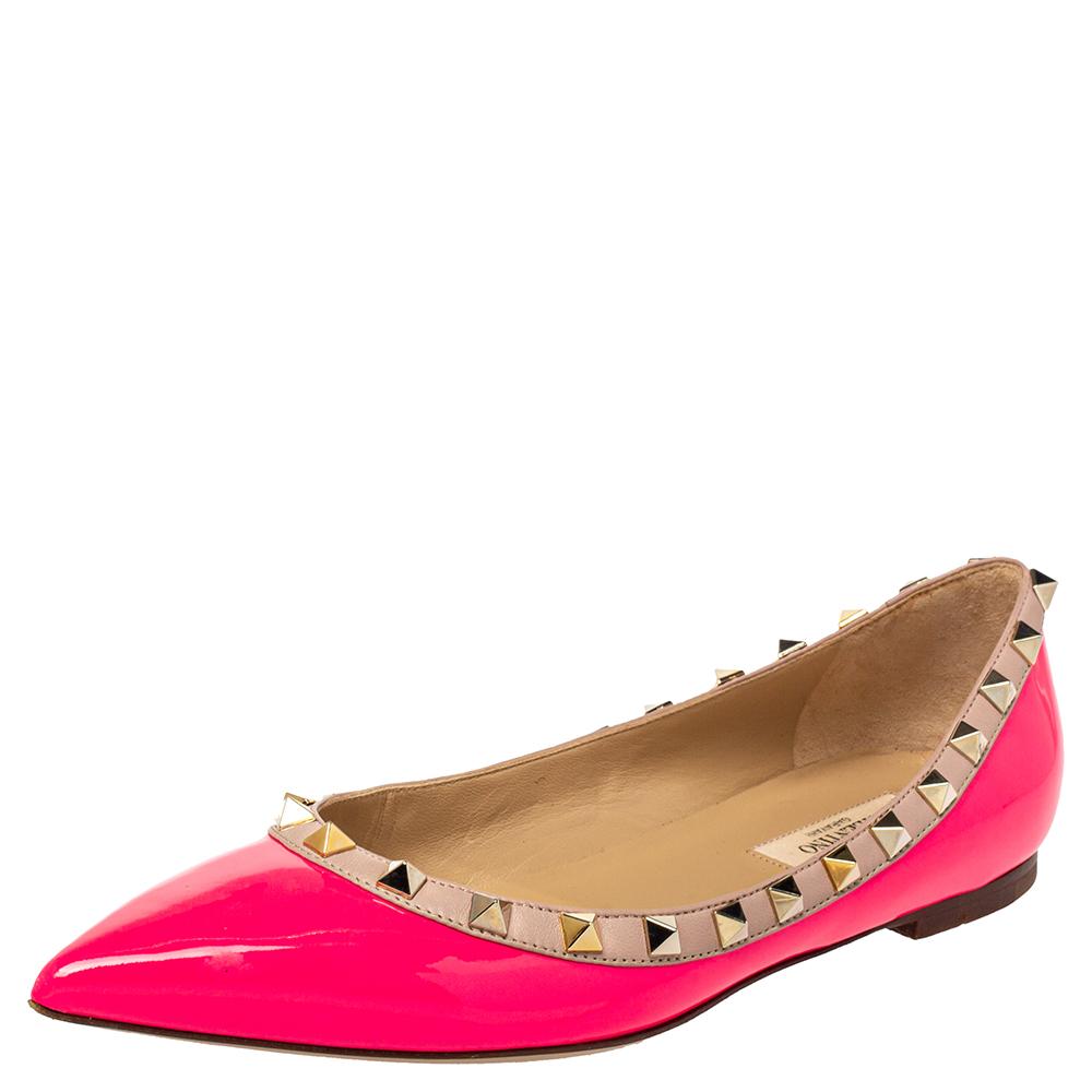 Pre-owned Valentino Garavani Pink Patent Leather Rockstud Ballet Flats Size 38