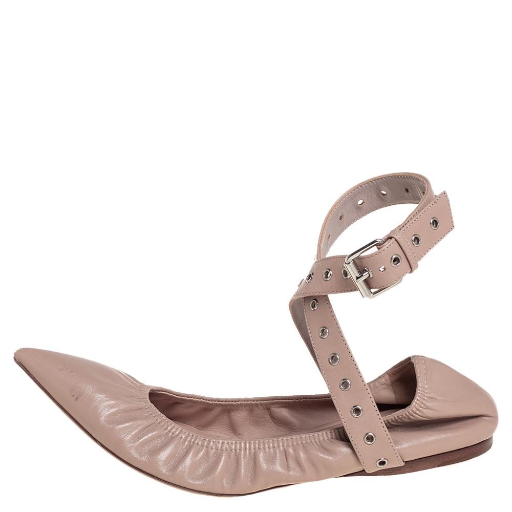 Valentino Beige Leather Love Latch Ankle Strap Scrunch Ballet Flats Size 37.5