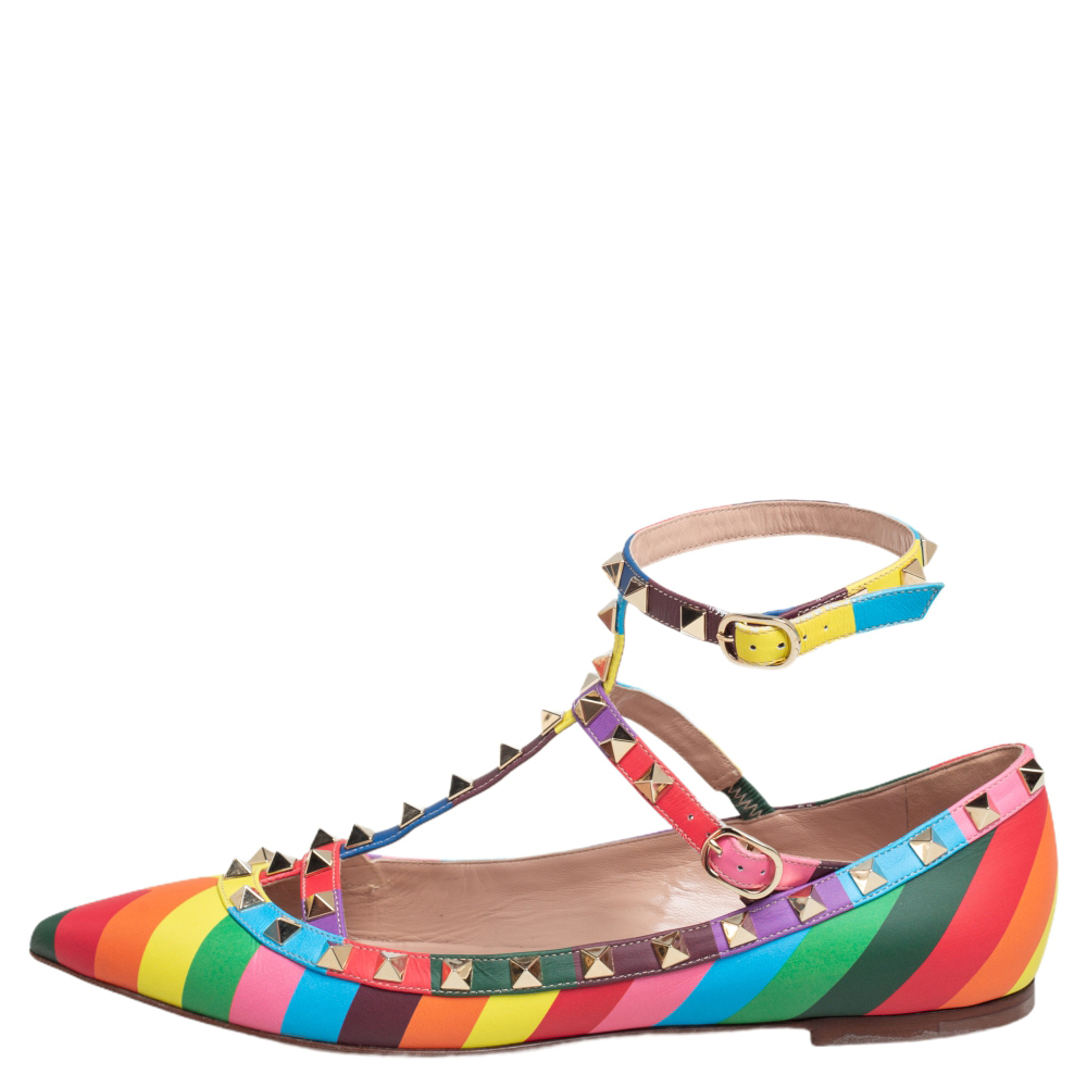 Valentino Multicolor Leather Rockstud Ballet Flats Size 39  - buy with discount