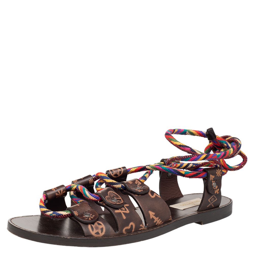 Pre-owned Valentino Garavani Brown Leather And Multicolor Rope Flat Ankle Wrap Sandals Size 38