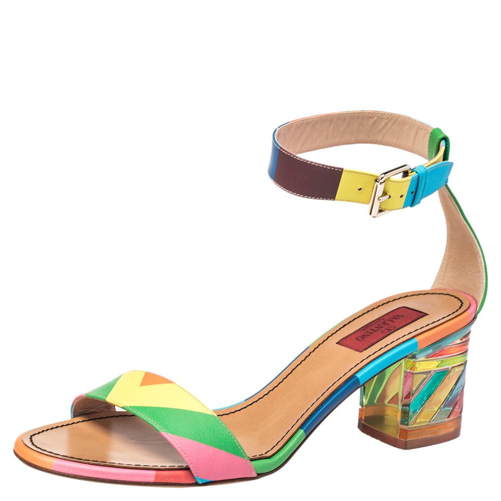 Pre-owned Valentino Garavani Multicolor Leather Plexiglass Heel Ankle Strap Sandals Size 40