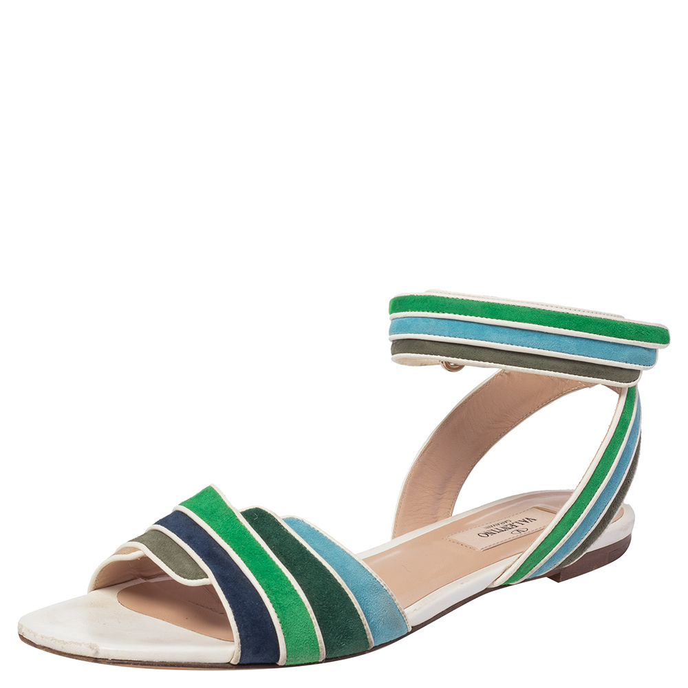 Pre-owned Valentino Garavani Multicolor Suede And Leather Rainbow Ankle Wrap Flat Sandals Size 38.5