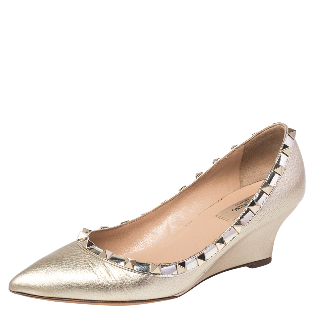 Pre-owned Valentino Garavani Gold Patent And Leather Rockstud Wedge Pumps Size 37.5