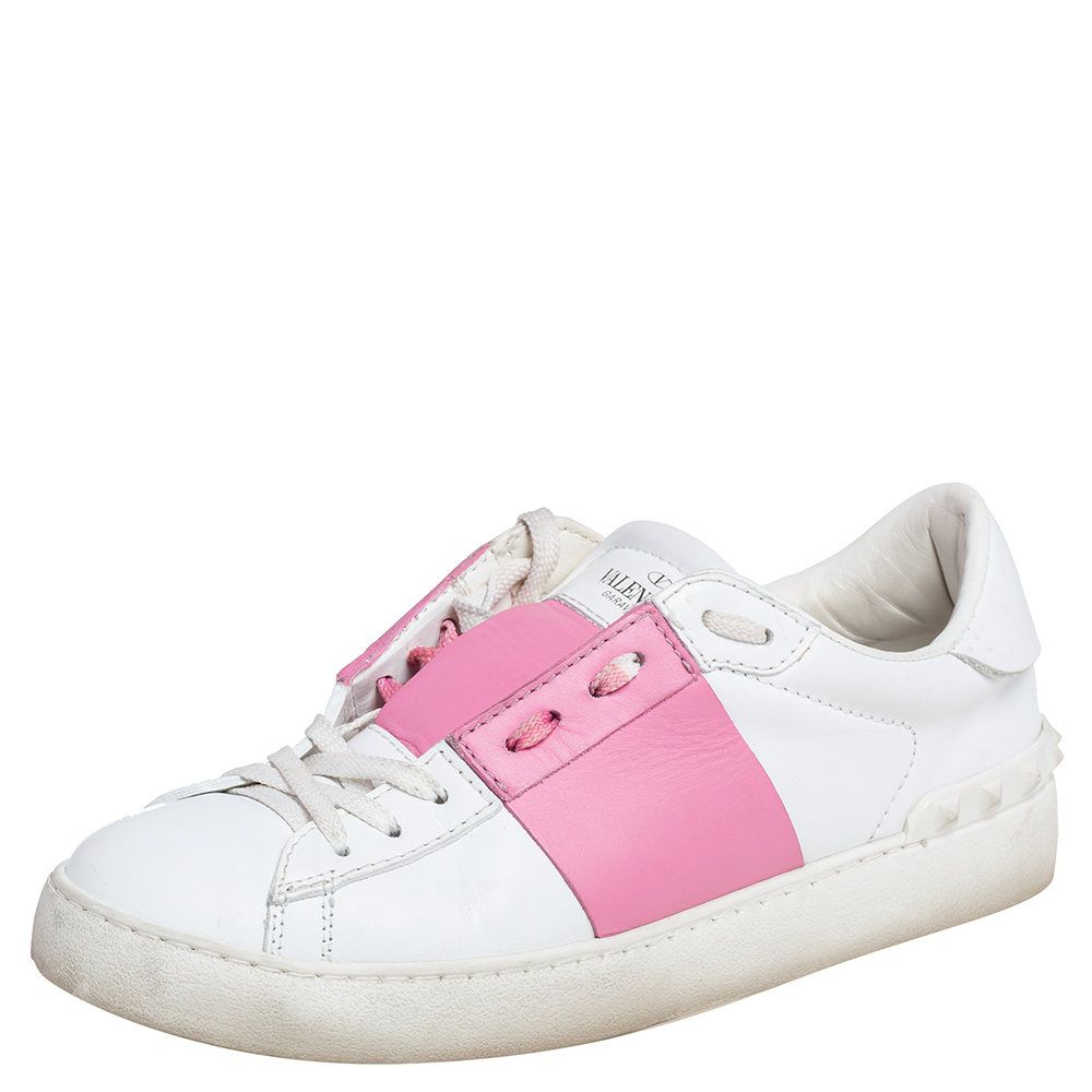 Pre-owned Valentino Garavani White/pink Leather Rockstud Color Block Low Top Sneakers Size 39