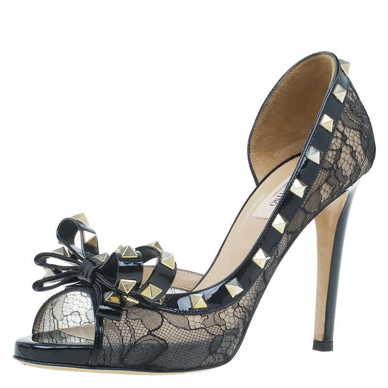 b7dc85c0f90 Buy Valentino Black Patent and Lace Rockstud Bow D orsay Pumps Size 38.5  53038 at best price