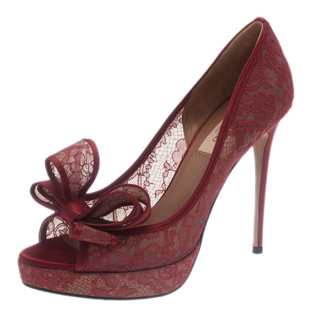 19235c172bd75 Buy Valentino Red Couture Bow Lace Platform Pumps Size 38.5 5379 at best  price | TLC