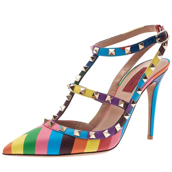 b055bfb99f56 ... Valentino Multicolor Striped Limited Edition Rockstud Sandals Size 39.  nextprev. prevnext