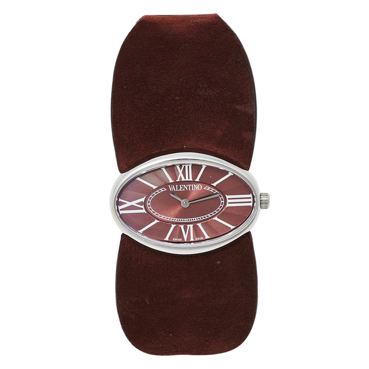 Pre-owned Valentino Garavani Burgundy Stainless Steel & Leather Signature Women's Wristwatch 36 Mm