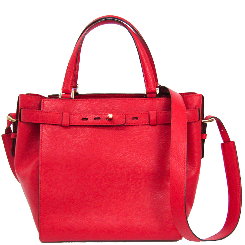 Pre-owned Valextra Red Leather B-cube Tote