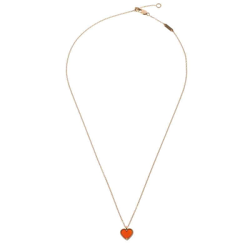 3b79072b04f1c Van Cleef & Arpels Sweet Alhambra Carnelian Heart 18k Rose Gold Pendant  Necklace