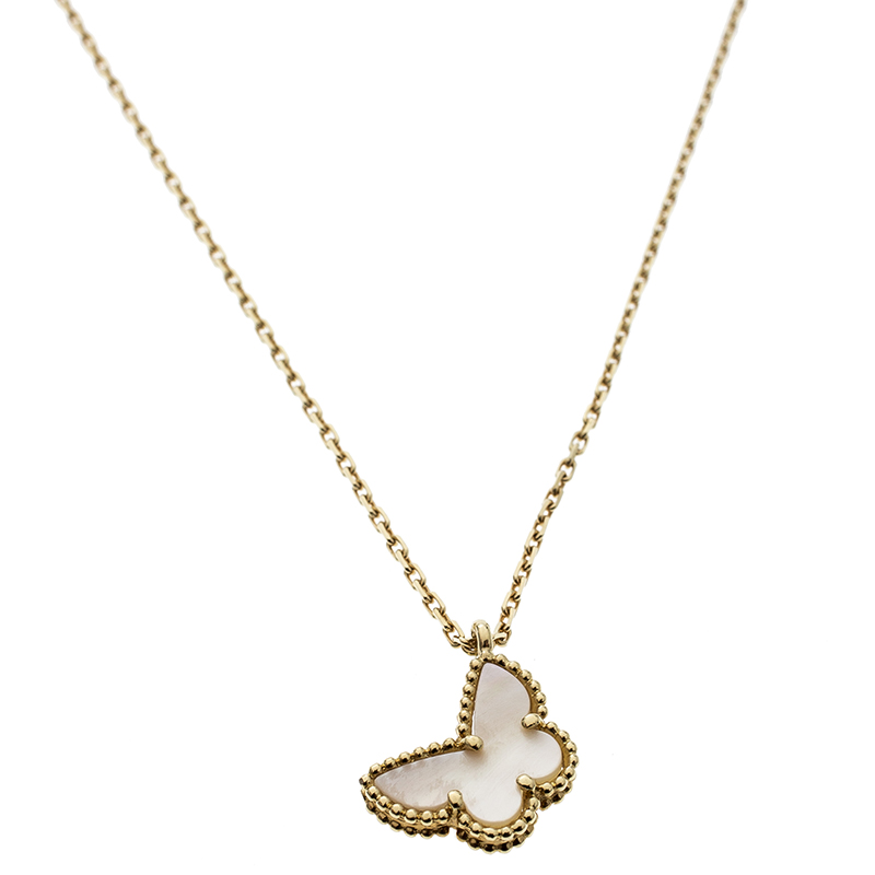 fe0369638092 ... Van Cleef and Arpels Sweet Alhambra Butterfly Mother of Pearl   18k  Yellow Gold Pendant Necklace. nextprev. prevnext