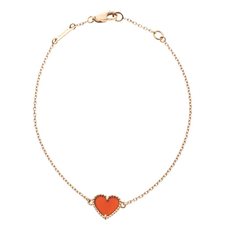 49ade73824ec5 Van Cleef & Arpels Sweet Alhambra Carnelian Heart 18k Rose Gold Bracelet