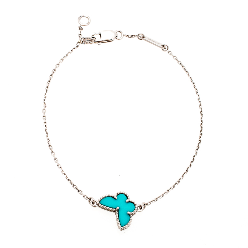 Van Cleef and Arpels Sweet Alhambra Butterfly Turquoise 18k White Gold Bracelet