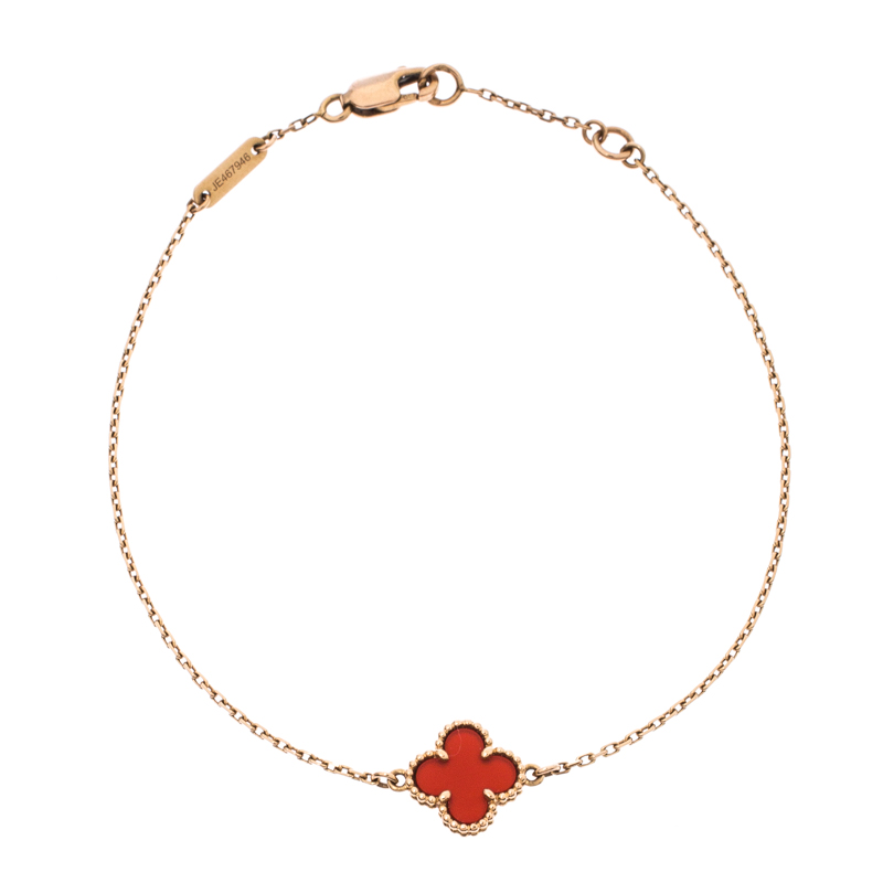 Van Cleef and Arpels Sweet Alhambra Red Carnelian 18k Rose Gold Bracelet