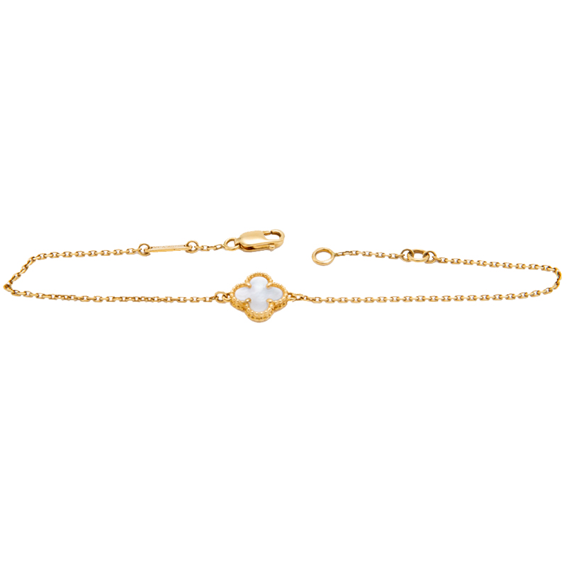 Van Cleef & Arpels Sweet Alhambra White Mother Of Pearl Yellow Gold Bracelet