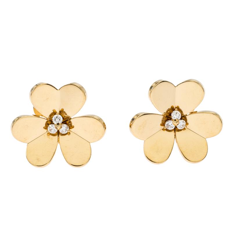 Van Cleef & Arpels Frivole Diamond 18k Yellow Gold Large Clip On Stud Earrings
