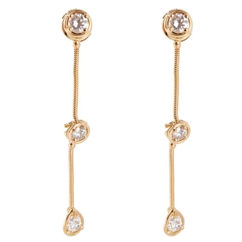 Van Cleef & Arpels La Pluie Diamond Drop 18K Yellow Gold Earrings
