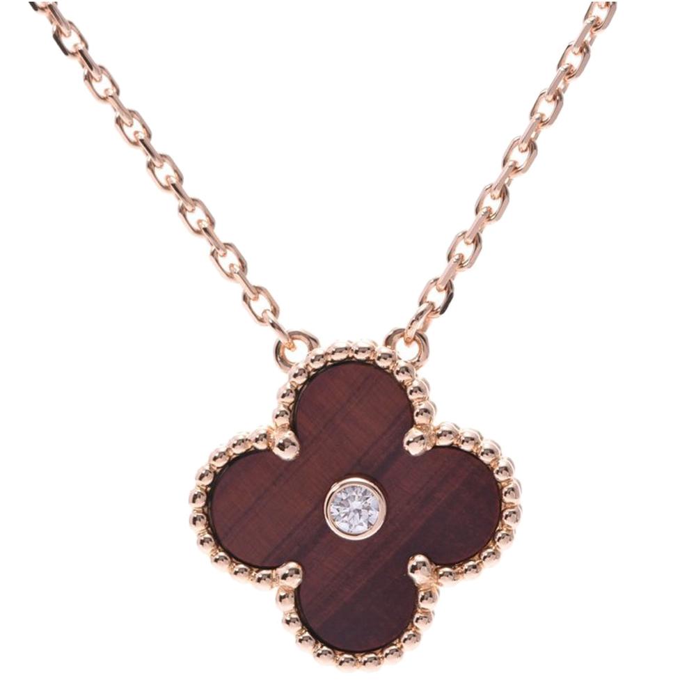 Van Cleef & Arpels Bull's Eye 18K Rose Gold Diamond Alhambra Necklace