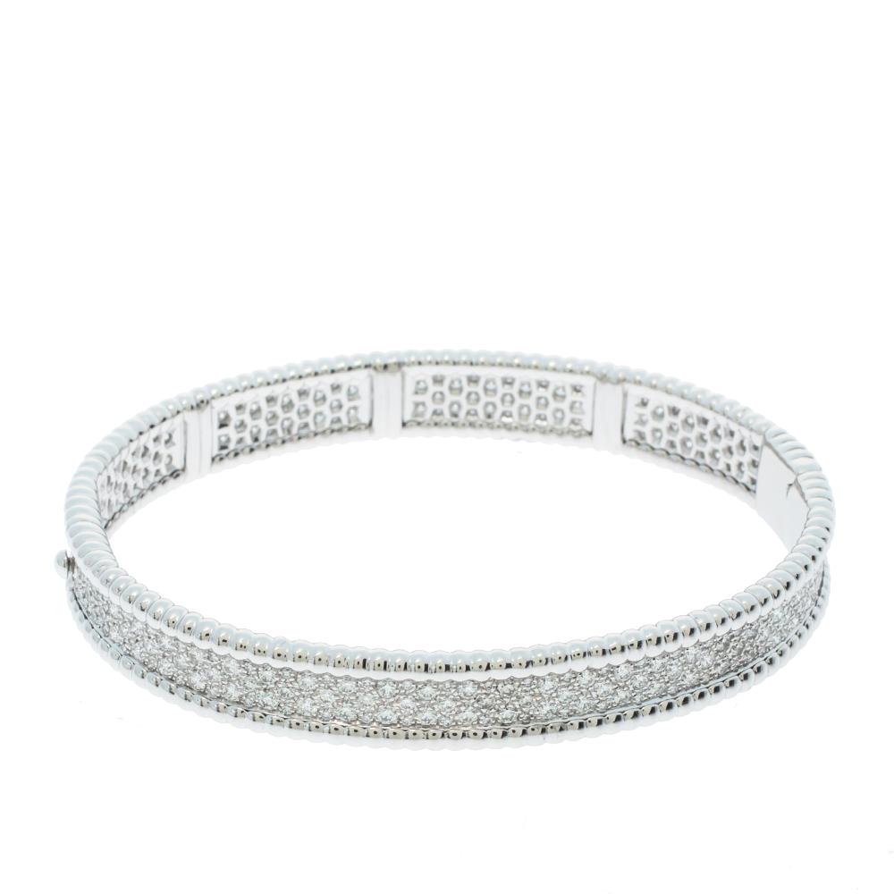 Van Cleef & Arpels Perlée Diamond 3 Row 18K White Gold Bracelet M