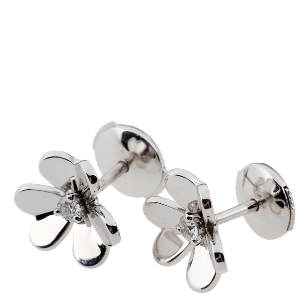 Van Cleef & Arpels Frivole Mini Diamond 18K White Gold Earrings