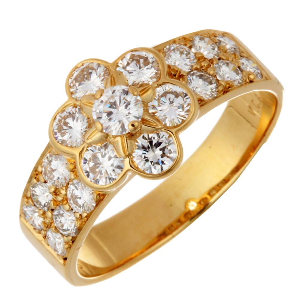 Van Cleef & Arpels Fleurette Diamonds 18K Yellow Gold Ring Size 50.5