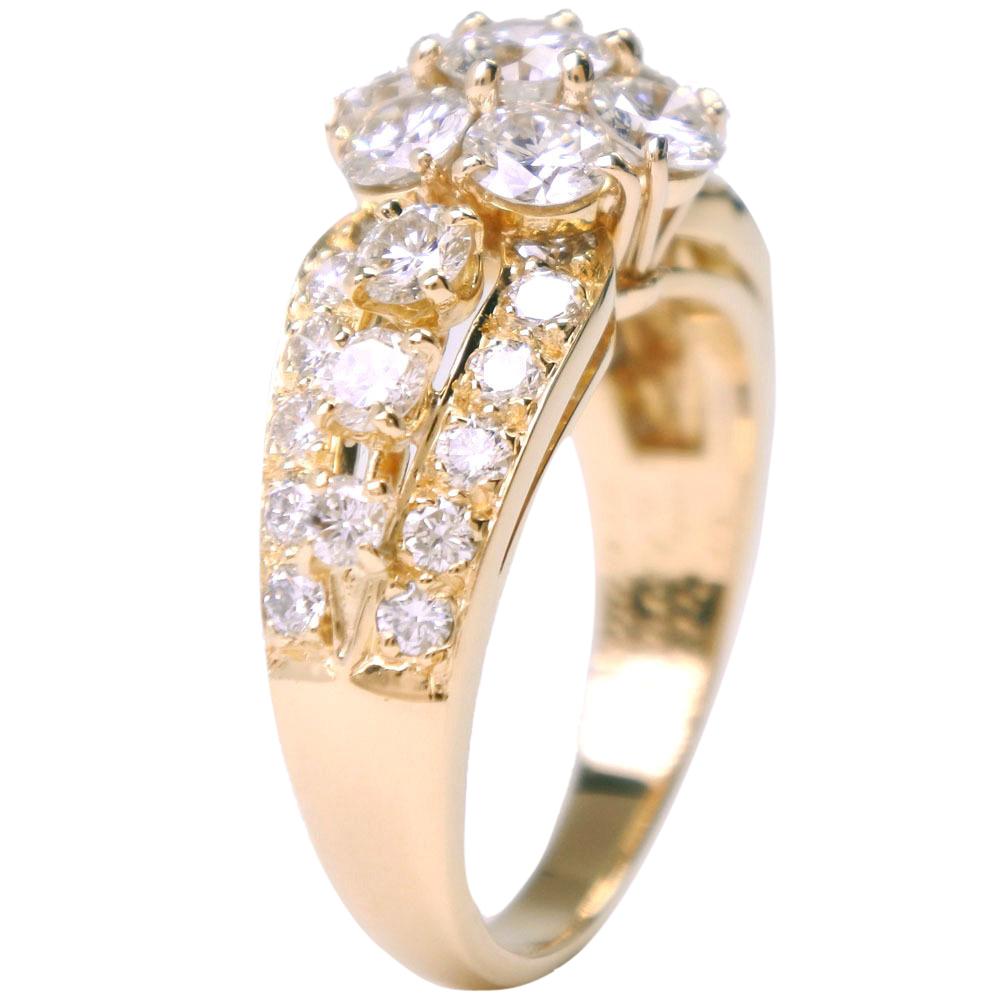 Van Cleef & Arpels Snowflake 18K Yellow Gold Diamonds Ring Size 57