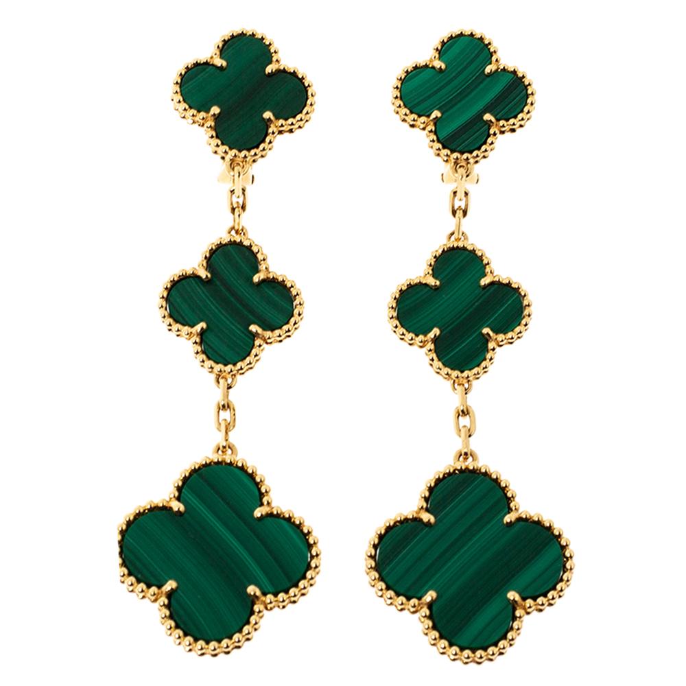 Van Cleef & Arpels Magic Alhambra 3 Motif Malachite 18K Yellow Gold Long Earrings
