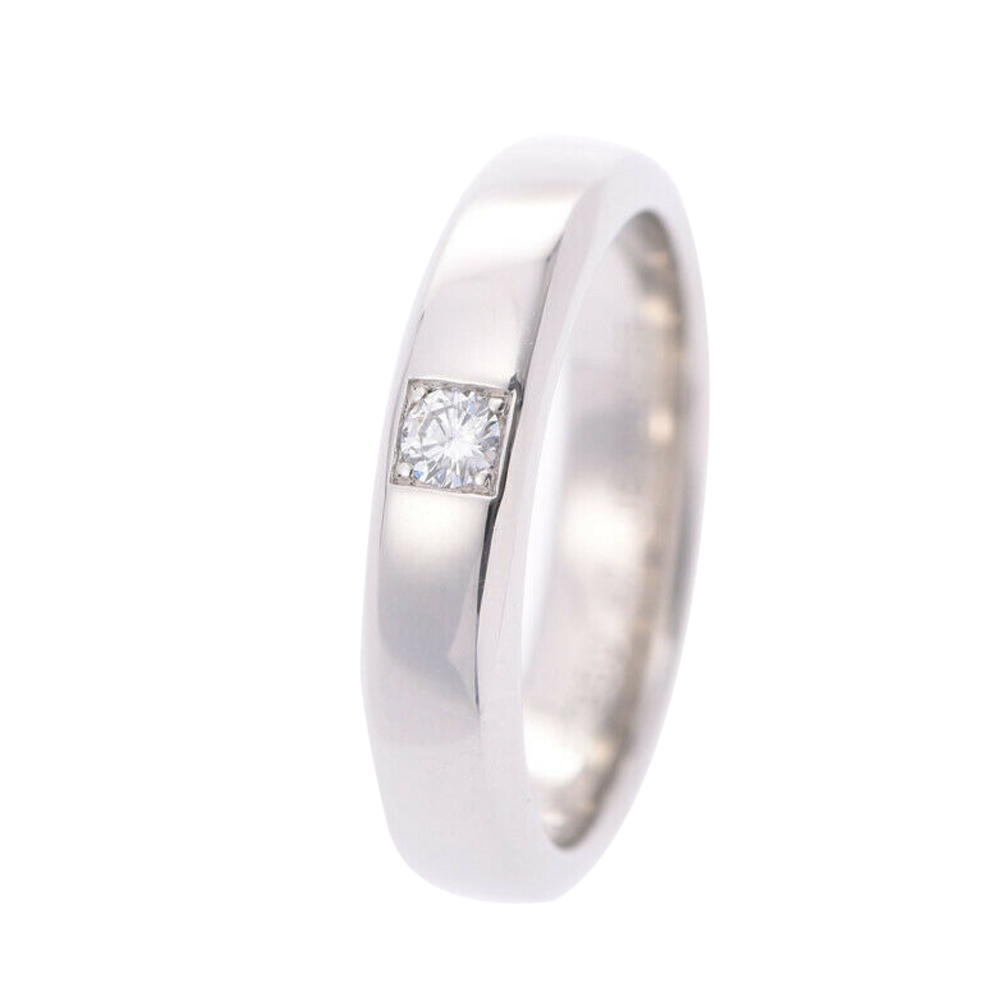 Van Cleef & Arpels 1 Diamond Platinum Wedding Ring Size 47