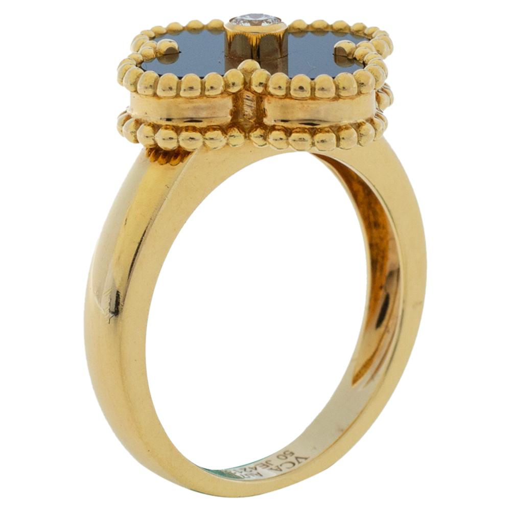 Van Cleef & Arpels Vintage Alhambra Diamond Onyx 18K Yellow Gold Ring Size 50