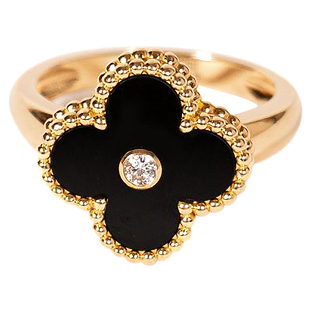 Van Cleef & Arpels Alhambra Diamond Onyx 18K Yellow Gold Ring Size 52