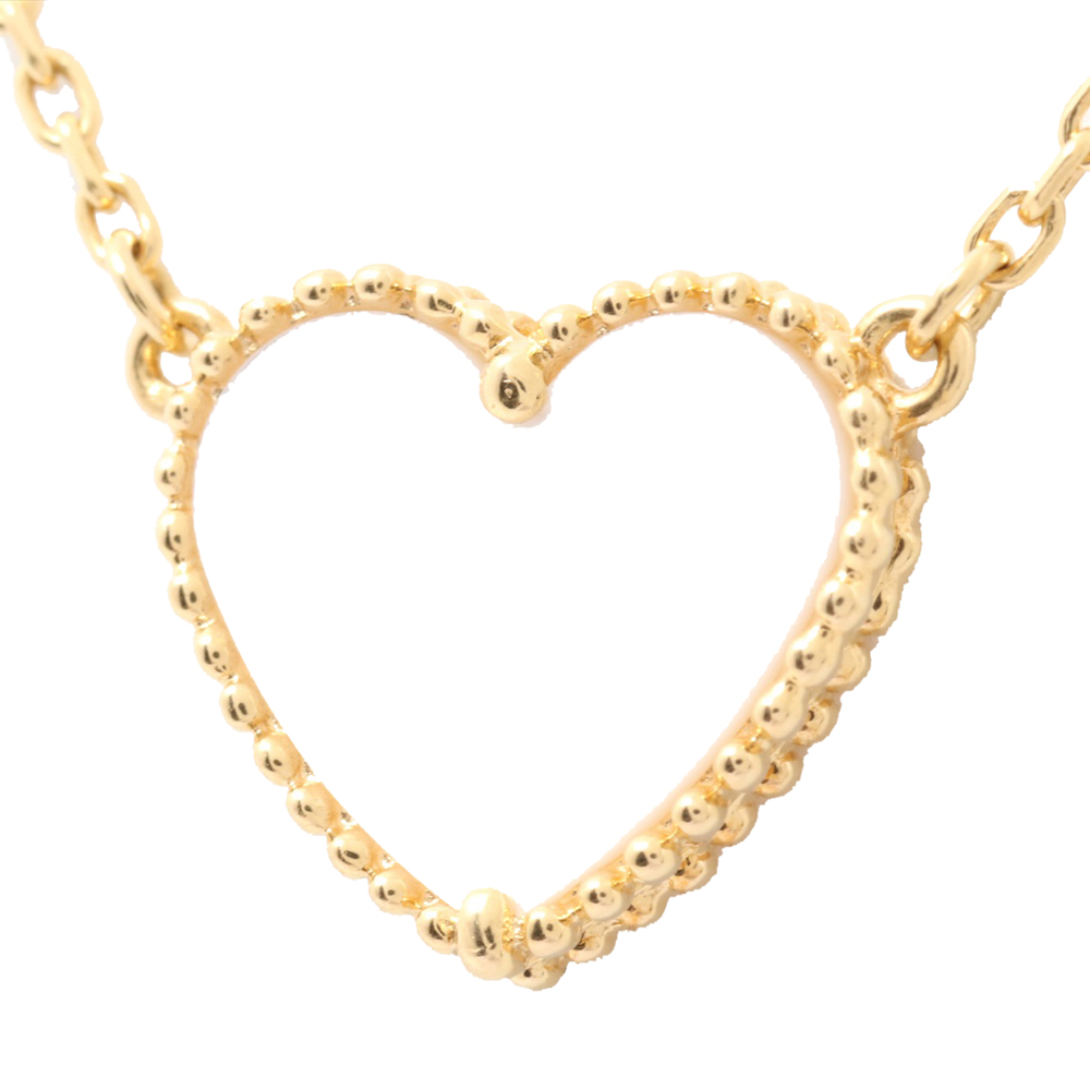 Van Cleef & Arpels MOP 18K Yellow Gold Heart Lucky Alhambra Pendant Necklace