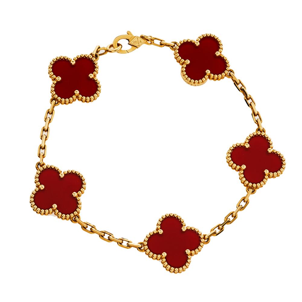 Van Cleef & Arpels Vintage Alhambra 5 Motifs Carnelian 18K Yellow Gold Bracelet