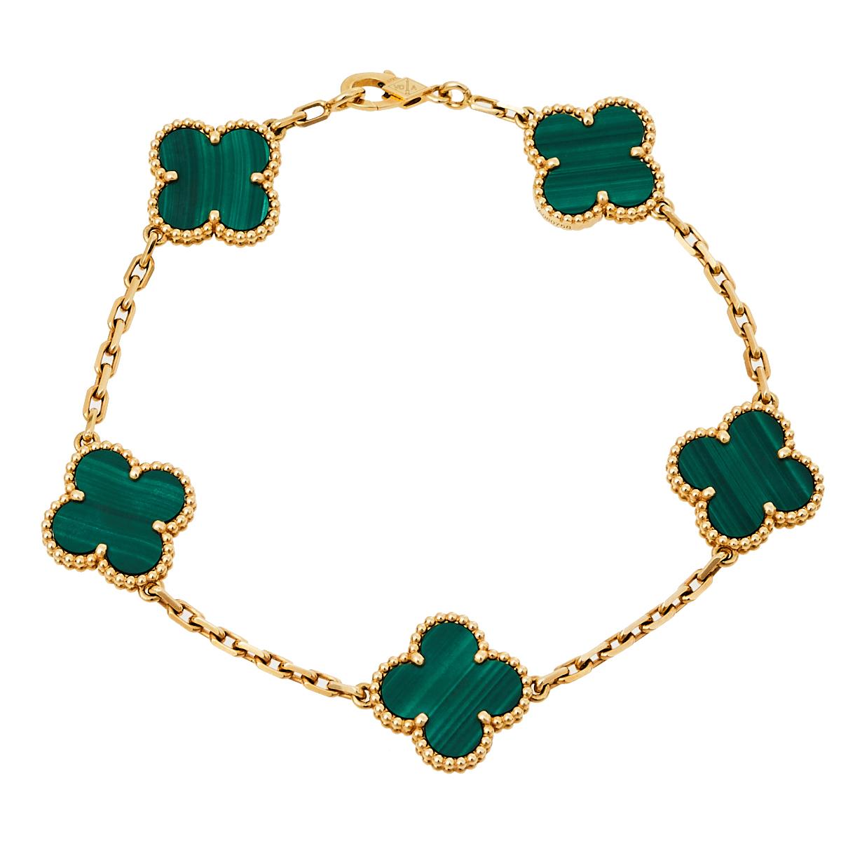 Pre-owned Van Cleef & Arpels Vintage Alhambra Malachite 18k Yellow Gold 5 Motifs Bracelet