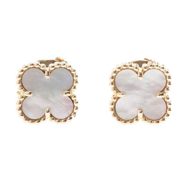 Van Cleef Arpels Sweet Alhambra Mother Of Pearl Stud Earrings 9867 At Best Price Tlc