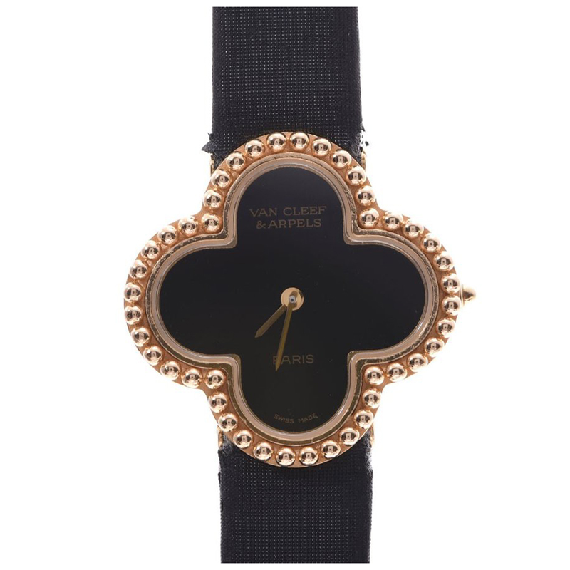 Van Cleef & Arpels Black Yellow Gold and Satin Alhambra Women's Wristwatch 25MM