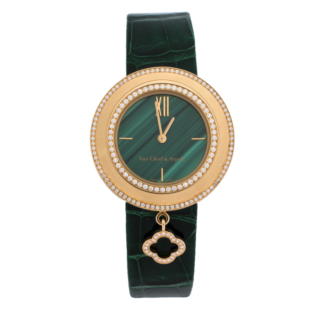 Van Cleef & Arpels Green Malachite 18K Rose Gold Diamond Charms VCARO8NR00 Women's Wristwatch 32 mm