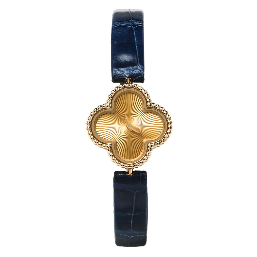 Van Cleef & Arpels 18K Yellow Gold Alligator Leather Alhambra VCARO8WT00 Women's Wristwatch 22.70 mm