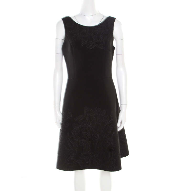 Vera Wang Black Floral Embossed Scuba Fit and Flare Sleeveless Dress M