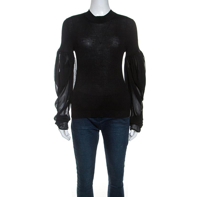 Vera Wang Black Silk Blend Rib Knit Top L